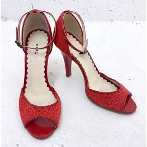 MARC JACOBS Cherry Red Beaded Ankle Strap Pumps